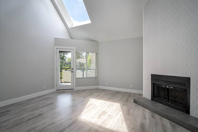 Renovated Living Space With Skylight And Fireplace